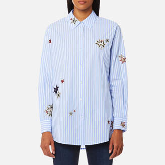 Maison Scotch Women's Long Sleeve Shirt with Placed Star Embroidery