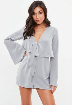 Missguided Grey Overlay Tie Front Flare Playsuit, Blue