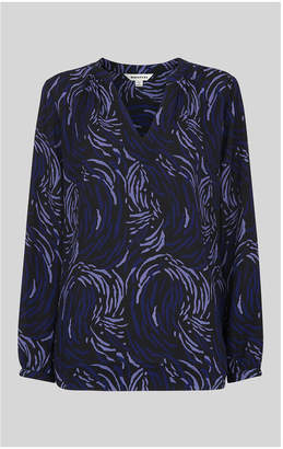 Whistles Reed Print V-Neck Blouse