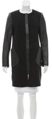 Lafayette 148 Leather-Trimmed Wool Coat