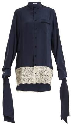 Blouse - Tessa Tie Cuff Silk Crepe Oversized Shirtdress - Womens - Navy