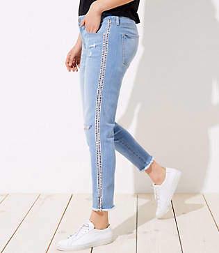 LOFT Curvy Skinny Crop Jeans in Classic Mid Stone Wash