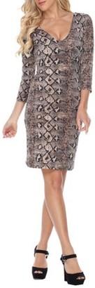 White Mark Women's Snake Skin Midi Dress