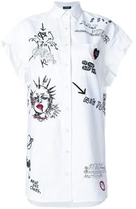 R 13 punk print long shirt