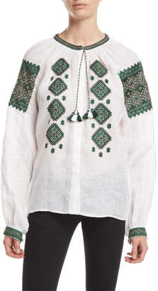 Vita Kin Mirror Beaded Embroidered Linen Peasant Blouse