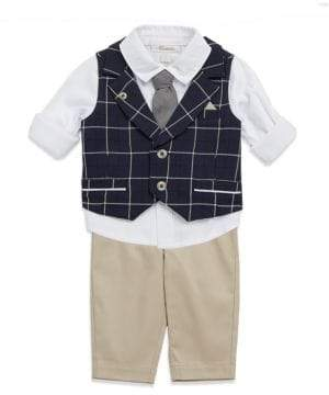 Baby Boy's Three-Piece Checkered Vest, Shirt & Pants Set