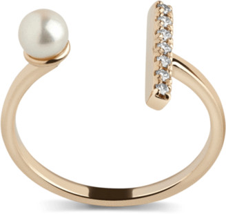 AUrate New York Open Pearl Ring with White Diamonds