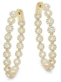 Bridal Diamond & Yellow Gold Hoop Earrings