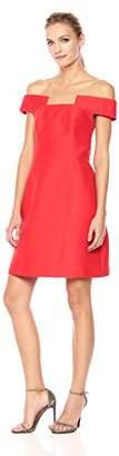 Halston Women's Off Shoulder Geometric Neck Silk Faille Dress