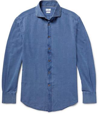 Brunello Cucinelli Slim-Fit Cutaway-Collar Cotton-Chambray Shirt