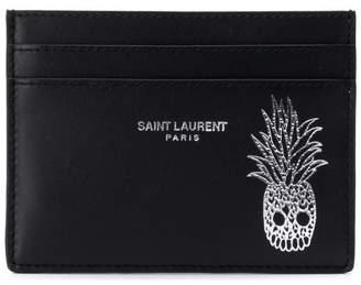 Saint Laurent pineapple skull print card case