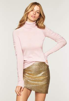 Milly Shirred Sleeve Turtleneck