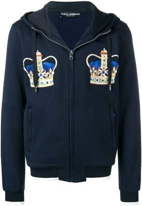 Dolce & Gabbana crown embroidered hoodie