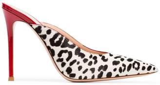 Gianvito Rossi red, black and white leopard print 105 ponyhair pumps
