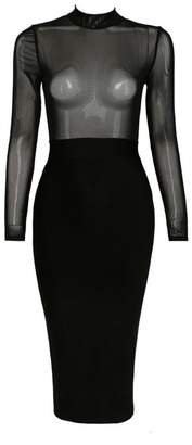 a843061086569 Whoinshop Women s Long Sleeve See-through Bandage and Mesh Sexy Club Dress M