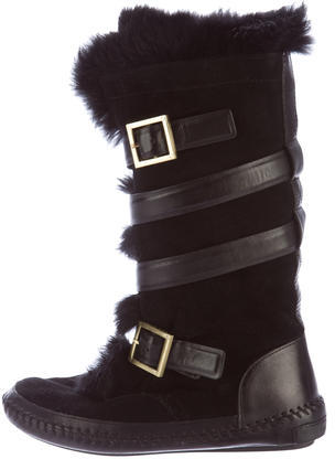 Tory BurchTory Burch Fur-Trimmed Suede Boots