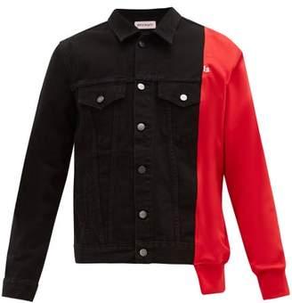 Palm Angels Contrast Panel Denim Jacket - Mens - Black Red