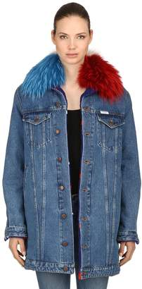 Couture Forte Dei Marmi Denim Coat With Fur Collar