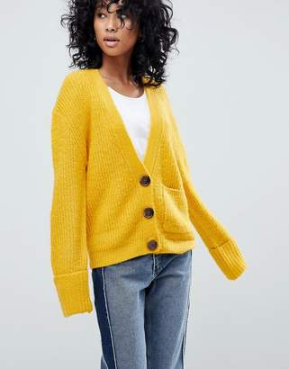 Asos DESIGN knitted cardigan in oversized rib with buttons