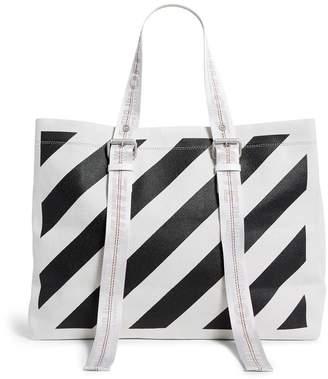bd0b5bf8b Off-White Canvas Diagonal Stripe Tote Bag