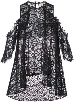 Nicole Miller lace flared pattern transparent top