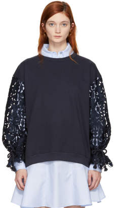 See by Chloe Navy Broderie Anglaise Sweatshirt