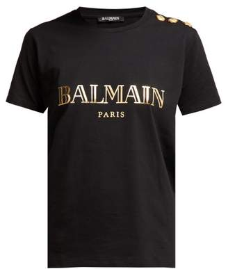 Balmain Logo Print Cotton T Shirt - Womens - Black Gold