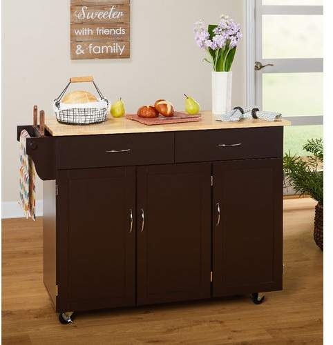 Alcott Hill Sayers Kitchen Island with Wood Top Base