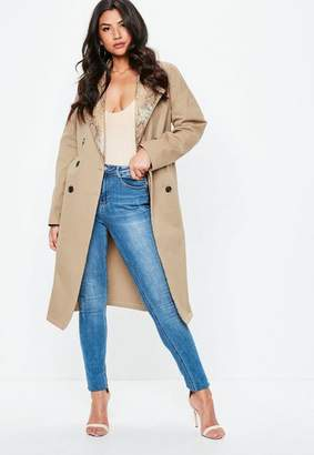 Missguided Nude Snake skin Contrast Lapel Trench Coat