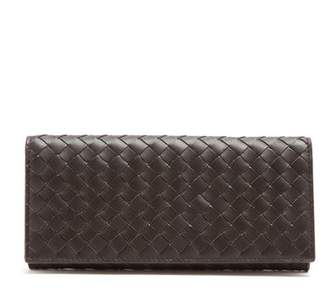 Bottega Veneta Intrecciato Bi Fold Leather Wallet - Mens - Brown