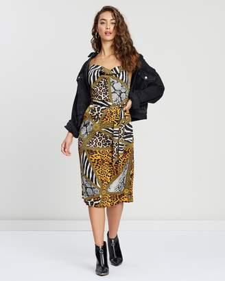 Missguided Cowl Neck Animal Print Satin Midi Dress