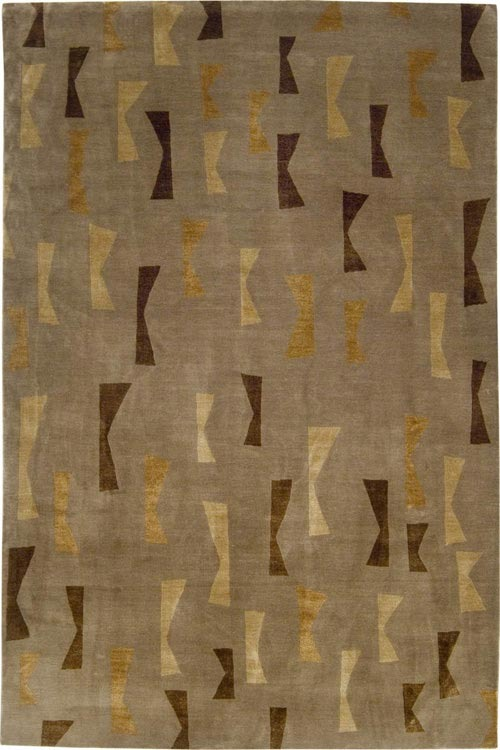 Judy Ross Textiles - Confetti 8x10 Hand Knotted Rug Tan Silk