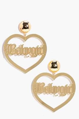 boohoo Babygirl Slogan Heart Earrings