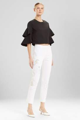 Josie Natori Denim Ankle Pants With Embroidery