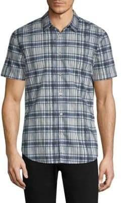 John Varvatos Grid-Plaid Short-Sleeve Shirt