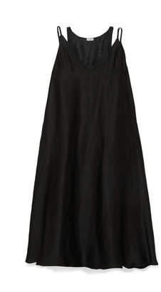 Loewe Layered Satin And Linen-gauze Dress - Black