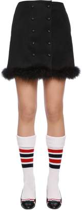 Thom Browne Wool Cavalry Twill Skirt W/ Feathers
