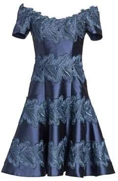 Lace-Accent Fit-&-Flare Cocktail Dress