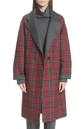 Lafayette 148 New York Braylie Flannel Collar Plaid Coat
