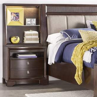 Weston Home Lighted Accent Bedside Table with Hutch and Pull-Out Tray