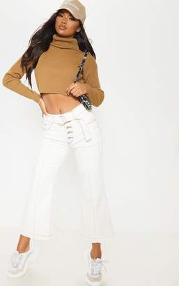 PrettyLittleThing White Belted Wide Leg Cropped Jeans