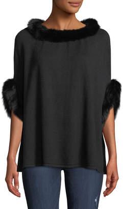 Metric Furs Wool-Blend Poncho w/ Fox Fur Trim