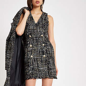 River Island Black boucle sequin mini dress