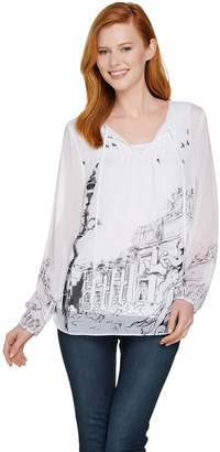 Dennis Basso Roma Print Woven Peasant Blouse with Tank
