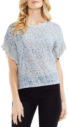 Vince Camuto Drop-Shoulder Ruffle-Sleeve Whisper Ditsy Top