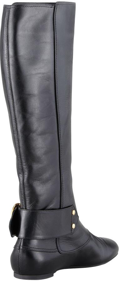 Alexander McQueen Buckled Flat Leather Knee Boot, Black