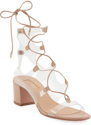 Aquazzura Milos Leather Illusion Block-Heel Sandals