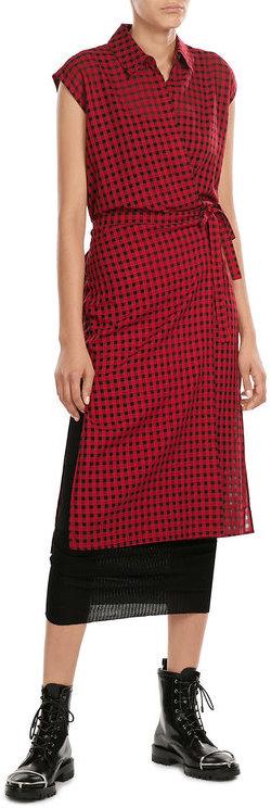 Alexander WangT by Alexander Wang Printed Wrap Dress with Virgin Wool