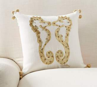 Pottery Barn Lilly Pulitzer Hold Your Horses Embroidered Reversible Pillow