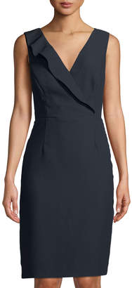 Tahari ASL Crepe-Back Satin V-Neck Dress